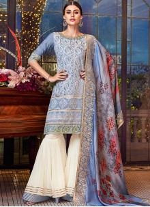 Chanderi Designer Pakistani Suit in Blue