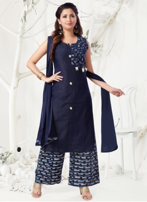 Navy Blue Chanderi Designer Palazzo Suit