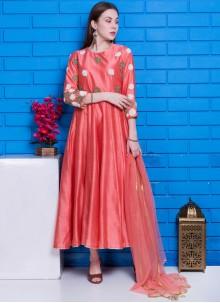 Peach Chanderi Hand Embroidery Designer Suit