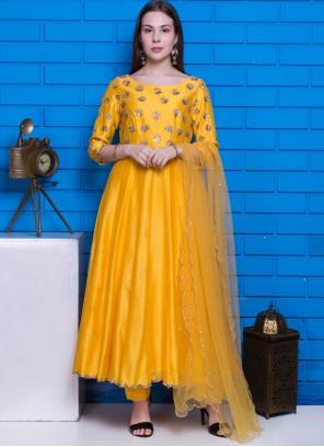 Yellow Chanderi Hand Embroidery Designer Suit