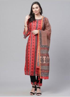Chanderi Digital Print Bollywood Red Salwar Kameez