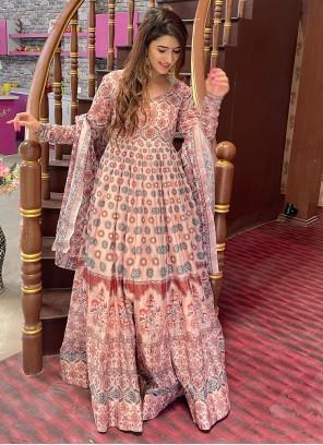 Peach Chanderi Digital Print Floor Length Designer Suit