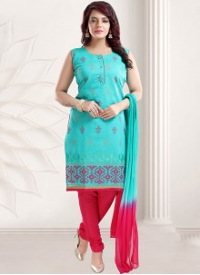 Chanderi Embroidered Churidar Designer Suit