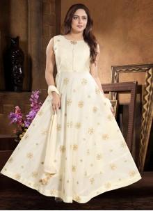 Chanderi Embroidered Cream Readymade Designer Gown