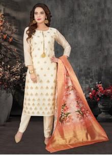 Chanderi Embroidered Off White Designer Salwar Kameez