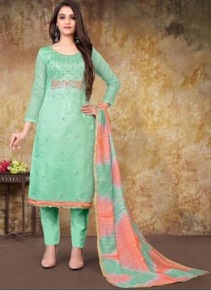 Chanderi Embroidered Sea Green Designer Straight Suit