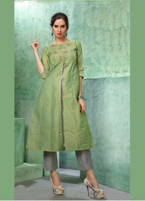 Chanderi Embroidered Green Designer Kurti