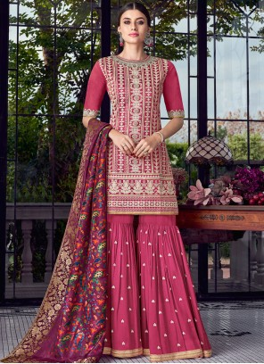Chanderi Embroidered Hot Pink Designer Pakistani Suit