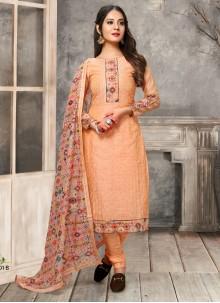 Chanderi Embroidered Peach Designer Straight Salwar Suit