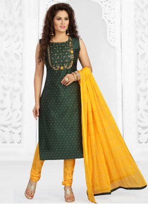 Chanderi Embroidered Readymade Suit in Green