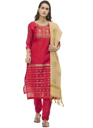 Chanderi Embroidered Red Churidar Suit