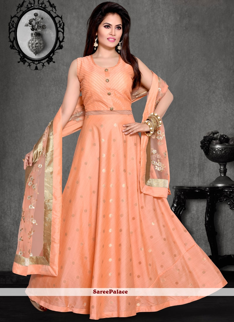 Chanderi Embroidered Work Readymade Suit