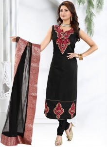 Chanderi Fancy Black Churidar Designer Suit