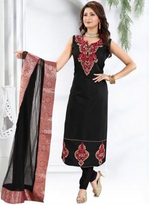 Chanderi Fancy Black Churidar Designer Suit
