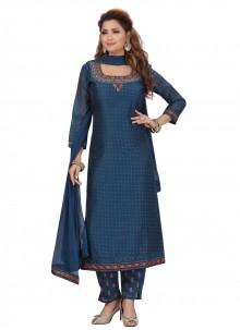 Chanderi Fancy Blue Designer Straight Salwar Suit