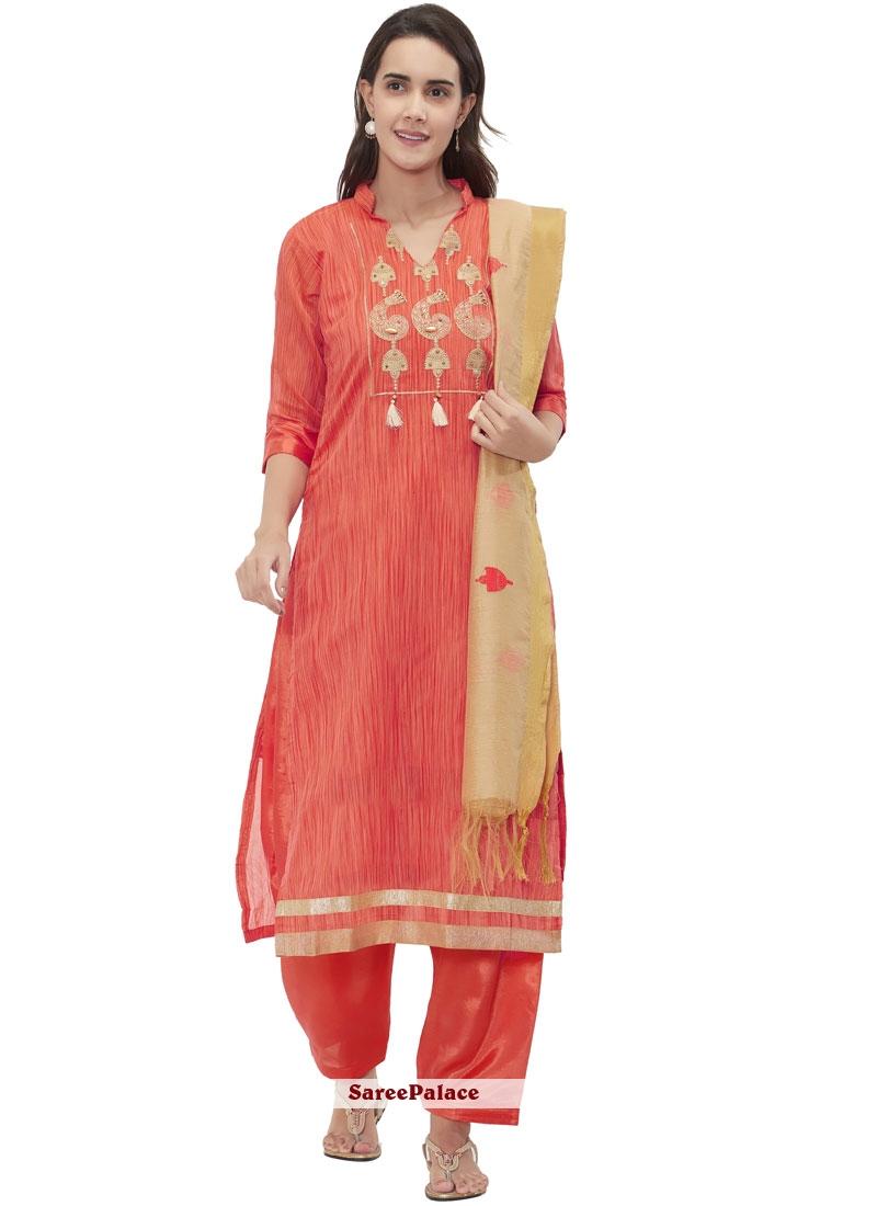 Chanderi Fancy Churidar Suit in Orange