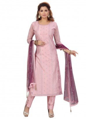 Chanderi Fancy Pink Designer Straight Suit