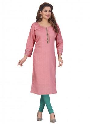 Chanderi Fancy Pink Party Wear Kurti