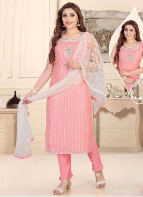 Chanderi Fancy Pink Readymade Suit