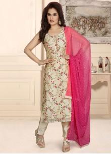 Chanderi Fancy Readymade Suit in Beige