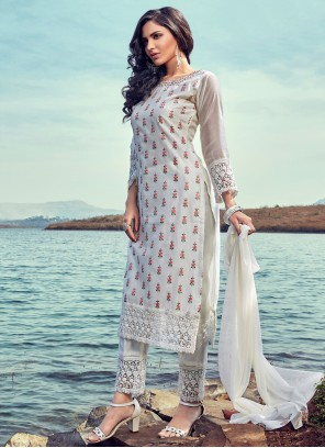 Chanderi Fancy Readymade Suit in Off White