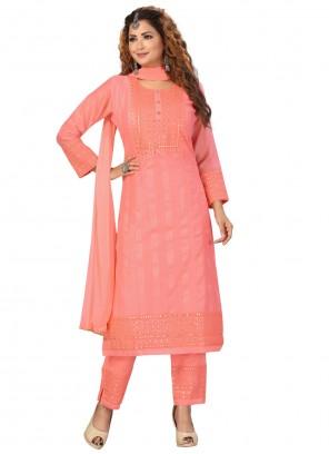 Chanderi Fancy Readymade Suit in Peach