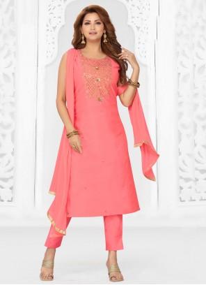 Chanderi Fancy Readymade Suit in Pink