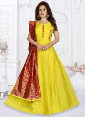 Chanderi Fancy Readymade Suit in Yellow