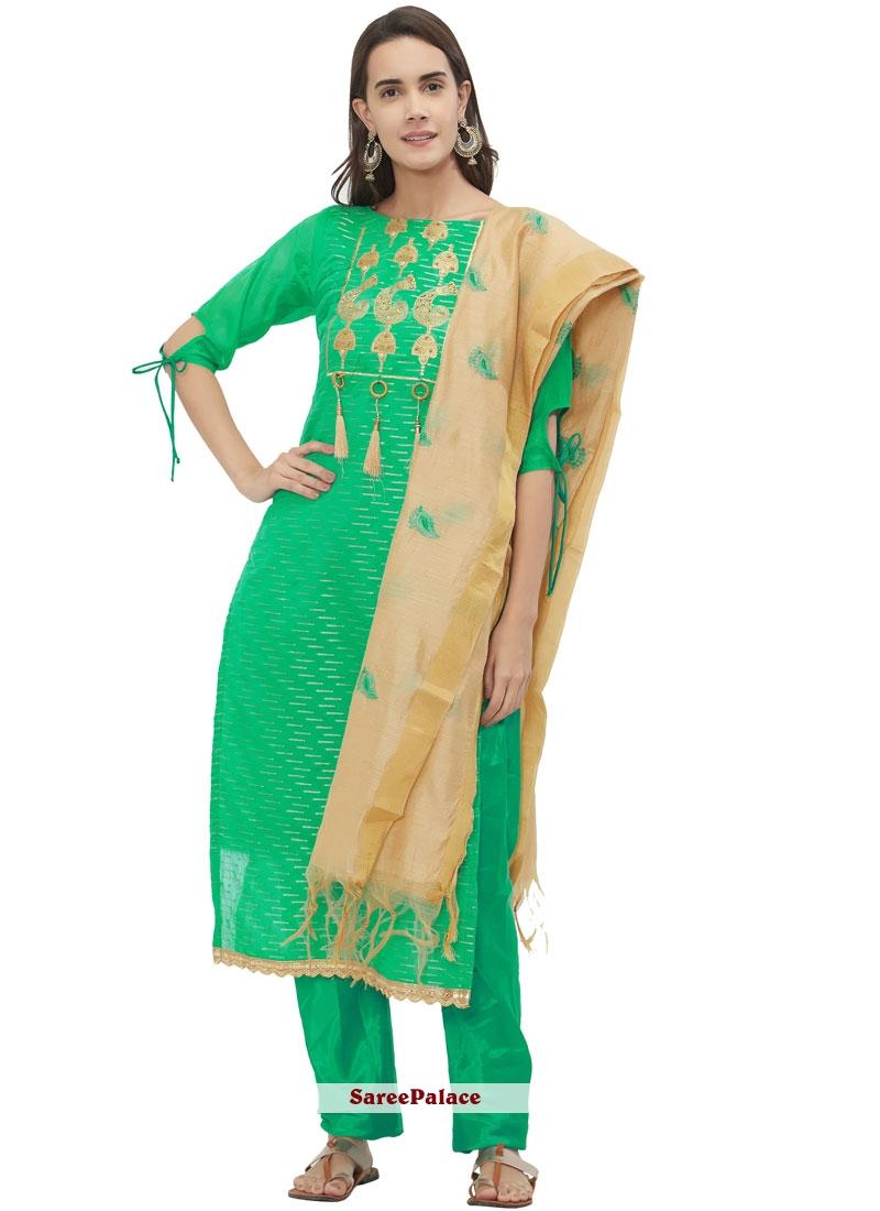 Chanderi Fancy Sea Green Churidar Suit