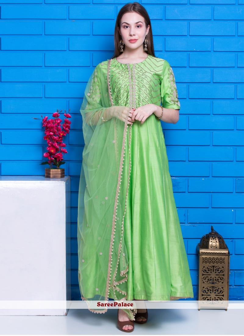 Green Chanderi Festival Designer Suit