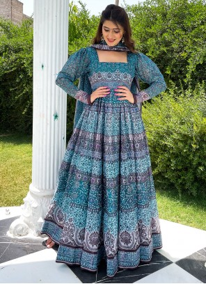 Chanderi Floor Length Designer Suit in Blue