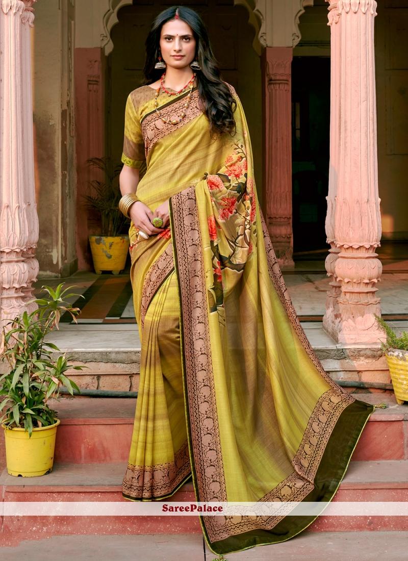 Chanderi Floral Print Printed Green Saree