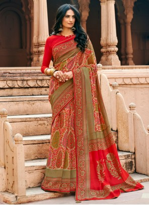 Chanderi Floral Print Printed Saree in Multi Colour