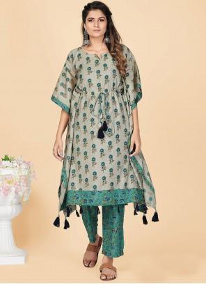 Chanderi Foil Print Grey Designer Kurti