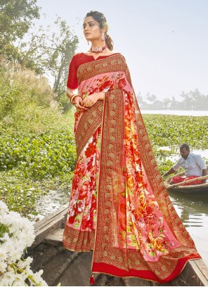 Chanderi Foil Print Multi Colour Printed Saree