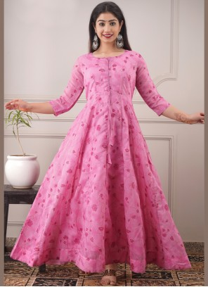 Chanderi Pink Foil Print Readymade Gown