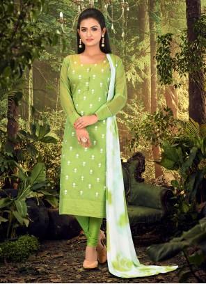 Chanderi Green Churidar Designer Suit