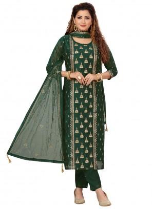 Chanderi Green Designer Salwar Kameez