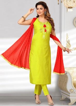 Chanderi Green Embroidered Designer Suit
