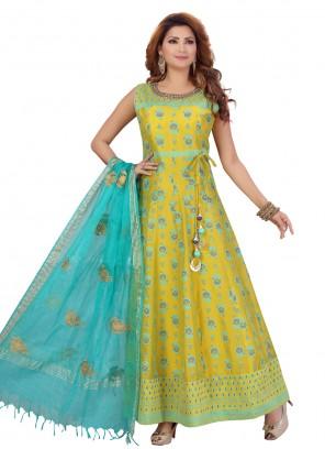 Chanderi Green Fancy Anarkali Suit