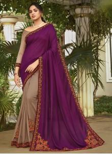 Chanderi Grey and Violet Half N Half Trendy Saree