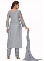 Chanderi Grey Readymade Suit