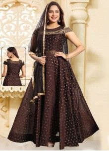 Chanderi Handwork Brown Salwar Kameez