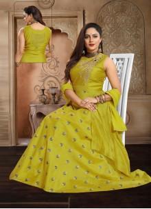 Chanderi Handwork Green Anarkali Salwar Kameez