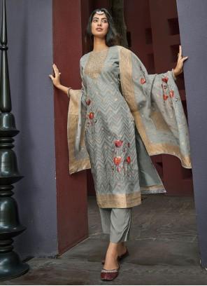 Chanderi Handwork Pant Style Suit in Green