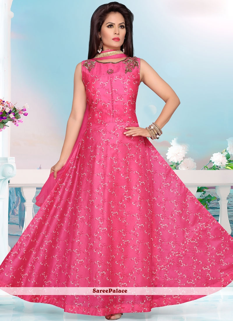 Chanderi Hot Pink Readymade Anarkali Suit
