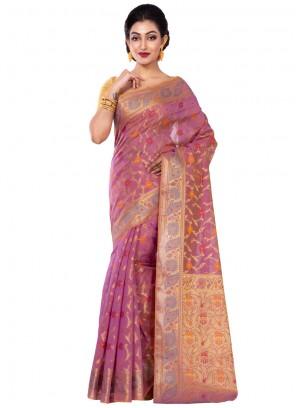 Chanderi Magenta Classic Saree