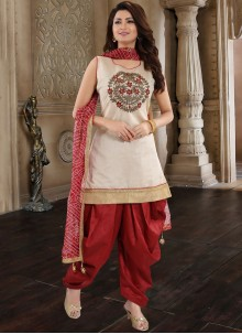 Chanderi Maroon Embroidered Designer Patiala Suit