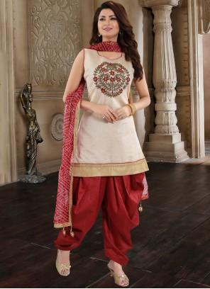 Chanderi Maroon Embroidered Designer Patiala Suit