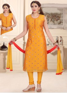 Chanderi Mustard Readymade Suit